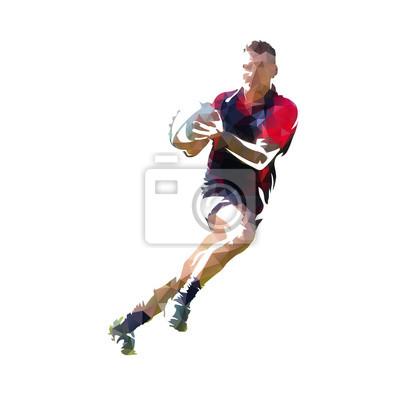 Rugby gracz w ciemnym dżersejowym bieg z piłką, kolorowa poligonalna wektorowa ilustracja. Low poly