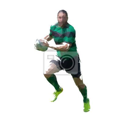 Rugby player działa z piłką, geometrycznej ilustracji wektorowych