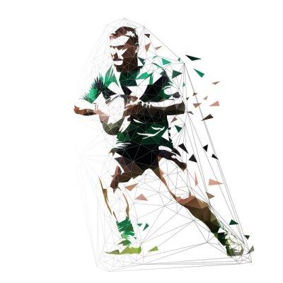 Rugby player działa z piłką, niskiej polygona ilustracji wektorowych, widok z przodu