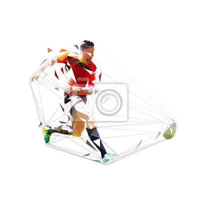 Rugby player in red jersey kicking ball, isolated poly poly illustration. Team sport athlete, geometric drawing, side view