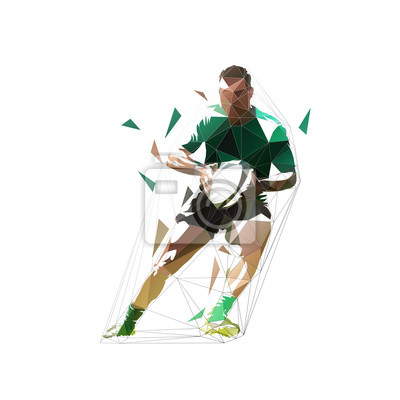 Rugby player running with ball in hands, front view. Isolated low polygonal geometric vector illustration