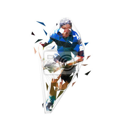 Rugby player running with ball in hands, front view. Isolated low polygonal vector illustration