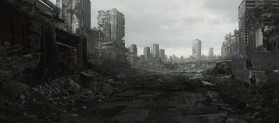 Naklejka Ruined Cityscape