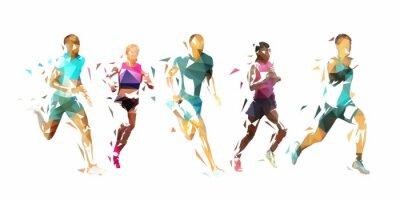 Naklejka Run, group of running people, low poly vector illustration. Geometric runners
