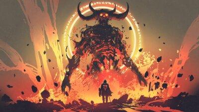 Naklejka rycerz z mieczem zwróconym w stronę demona lawy w piekle, cyfrowy styl sztuki, malowanie ilustracji