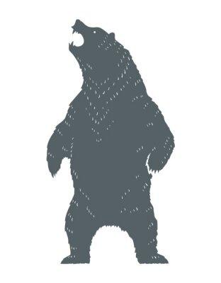 Naklejka Ryczący Niedźwiedź Sylwetka