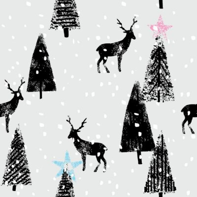 Naklejka rysowane ręcznie zimowy las modny wzór