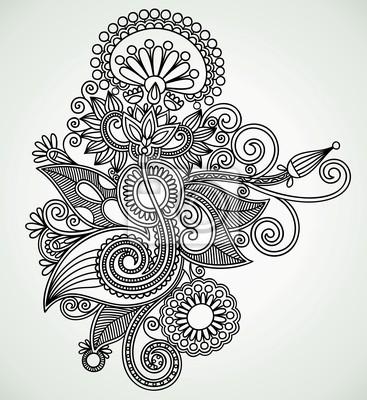 Rysowania linii strony sztuki projektowania kwiat. Ukrainian style.