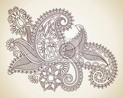Rysowania linii strony sztuki zdobienia kwiat.