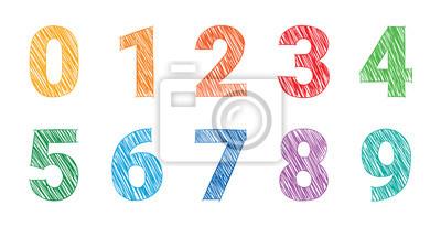 Naklejka rysunek kolorowe liczby, matematyka numery ilustracja wektor