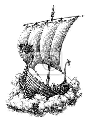 Naklejka Rysunek łodzi żaglowych