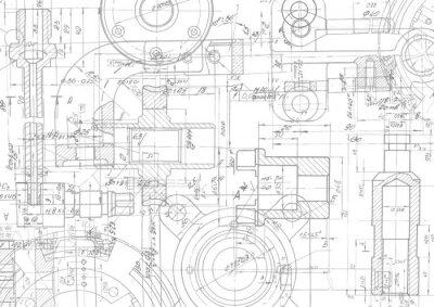 Naklejka Rysunek techniczny tło. Inżynieria mechaniczna rysunek