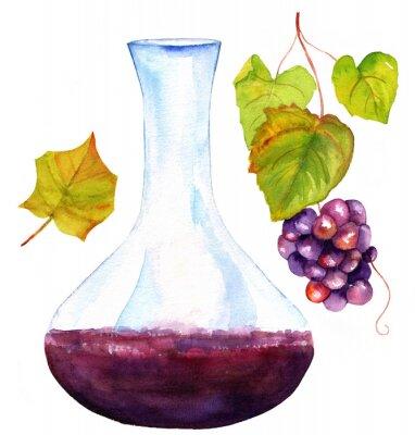 Naklejka Rysunki Akwarela z karafki do wina, liści winorośli i winogron,