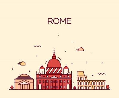 Naklejka Rzym City skyline szczegółowe wektor sztuki styl linii
