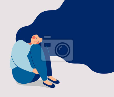 Naklejka Sad lonely Woman in depression with flying hair. Young unhappy girl sitting and hugging her knees. Depressed teenager. Colorful vector illustration in flat cartoon style