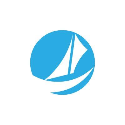 Naklejka sail boat fast design circle negative space logo vector