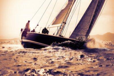 Naklejka sail boat sailing on sunset