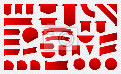 Naklejka Sale and New Label collection set. Sale tags 30, 50, 70. Discount red ribbons, banners and icons. Shopping Tags. Sale icons. Red isolated on white background, vector illustration.