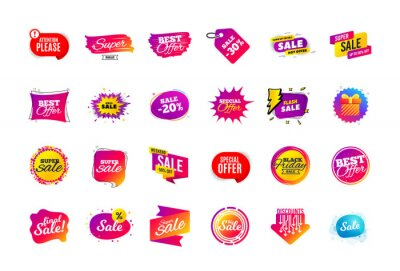 Naklejka Sale banner badge. Special offer discount tags. Coupon shape templates design. Cyber monday sale discounts. Black friday shopping icons. Best ultimate offer badge. Super discount icons. Vector banners