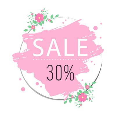 Sale floral design with flowers, green leaves. Round shape with space for text. Banner or flyer sale template, vector illustration.