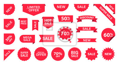 Naklejka Sale Label collection set. Sale tags. Discount red ribbons, banners and icons. Shopping Tags. Sale icons. Red isolated on white background, vector illustration.