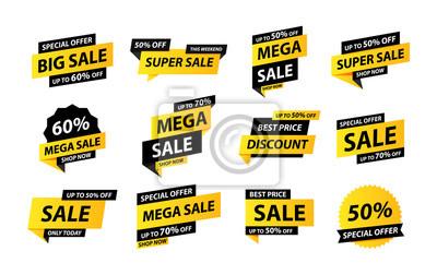 Naklejka Sale tags collection. Special offer, big sale, discount, best price, mega sale banner set. Shop or online shopping. Sticker, badge, coupon, store. Vector Illustration.