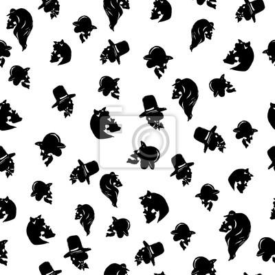 Samce i samice czaszki w kapeluszach różnych typów. Czarny bez szwu wzór na białym tle. Odosobniony. Może być stosowany do Halloween karty okolicznościowe, papier pakowy