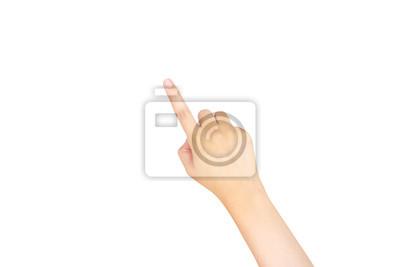 Naklejka Samica dotykania ręką, wskazując na coś