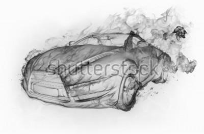 Naklejka Samochód dymu samodzielnie na białym tle. Oryginalny projekt samochodu.