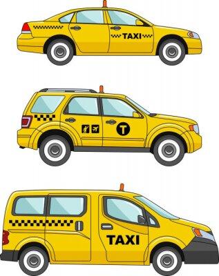 Naklejka Samochód taxi na białym tle w flatstyle