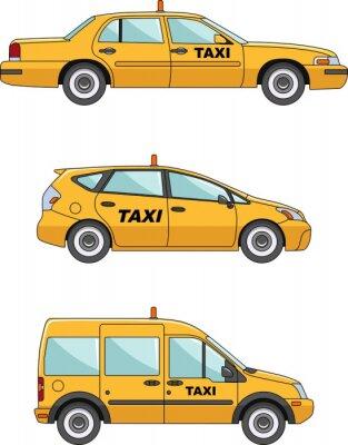 Naklejka Samochód taxi na białym tle w stylu płaskiej