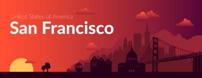 Naklejka San Francisco, USA famous city scape background.