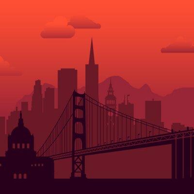 San Francisco, USA famous city scape background.