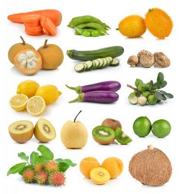 Naklejka Santol, marchew, groszek, pieczarki, cukinia, cytryna macadamia, coc