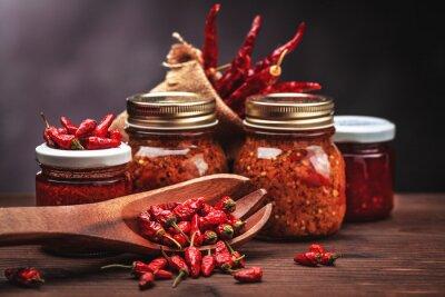 Naklejka sauce chilli in glass