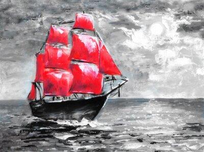 Scarlet żagle, malarstwo olejne. Statek w oceanie. Obchody w Petersburgu, ilustracja na powieści