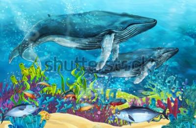 Naklejka scena kreskówki z wielorybem w pobliżu rafy koralowej - ilustracja dla dzieci