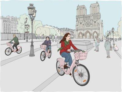Naklejka Scena miasta Paryża. Kobieta lubi jeździć na rowerze po mieście, przed słynną katedrą Notre Dame. Ręcznie rysowane ilustracji.