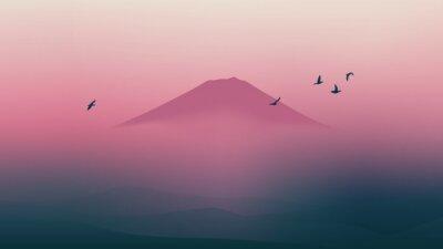 Naklejka Scenic Fuji góra Japonii z pi? Knym zmierzchu nieba