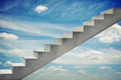 Naklejka schody betonowe na błękitnym niebie