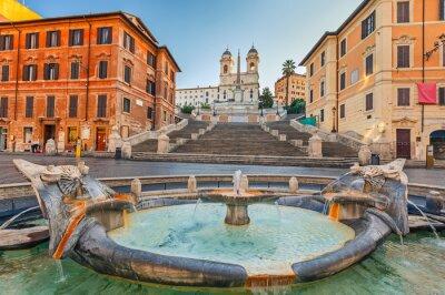 Naklejka Schody Hiszpańskie w godzinach porannych w Rzymie