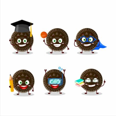 Naklejka School student of chocolate biscuit cartoon character with various expressions