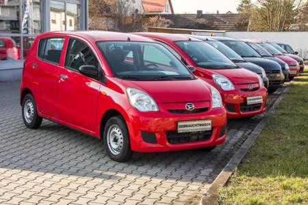 Naklejka Schwandorf, GERMANY : Daihatsu abrand cars in row at the dealership in Schwandorf