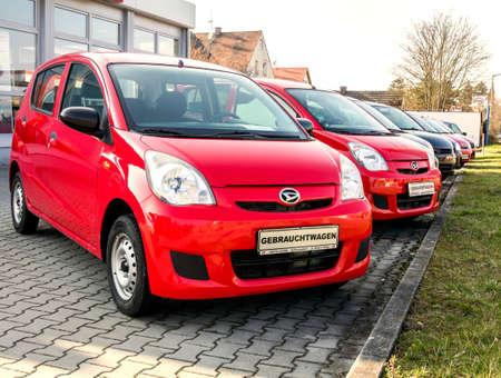 Naklejka Schwandorf, GERMANY: Daihatsu brand cars in row at the dealership in Schwandorf
