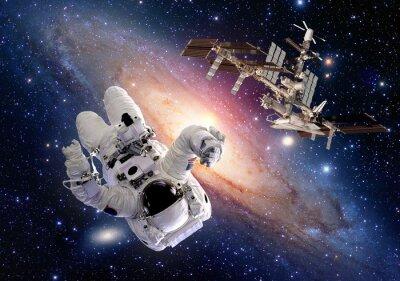 Naklejka Sci Fi astronauta kosmonauta kosmos stacja transport kosmiczny. Elementy tego zdjęcia dostarczone przez NASA.