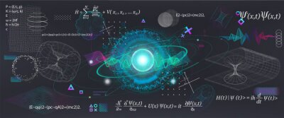 Naklejka Science elements set concept Quantum Mechanics, formula, curvature of spacetime in a gravitational field, black hole, elements from theoretical physics. Futuristic Quantum Mechanics. Vector collection