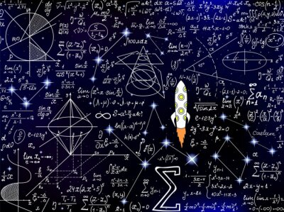 Naklejka Scientific vector seamless background with handwritten mathematical and physical formulas, rocket, figures, plots and calculations
