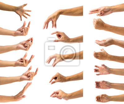 Naklejka Ścinek ścieżka wieloskładnikowy męski ręka gest odizolowywający na białym tle. Odosobnienie gestykuluje ręki lub symbol na białym tle.