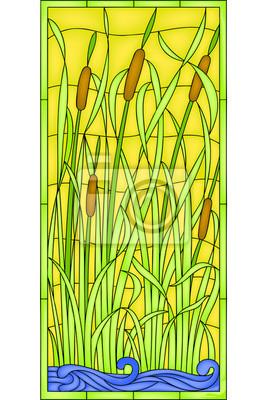 Naklejka Scirpus, w stylu secesyjnym. Ilustracji wektorowych, okna Witraż