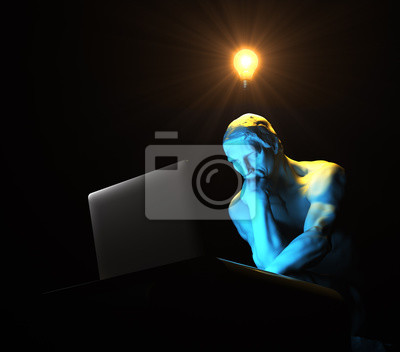 Sculpture Thinker Illuminated By Laptop Screen And Glowing Light Bulb Over His Head As Symbol Of New Idea